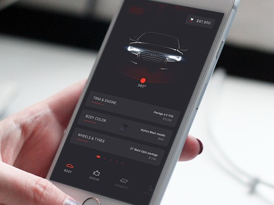 Car building app for Audi buy checkout picture rotate icons dashboard audi car ios