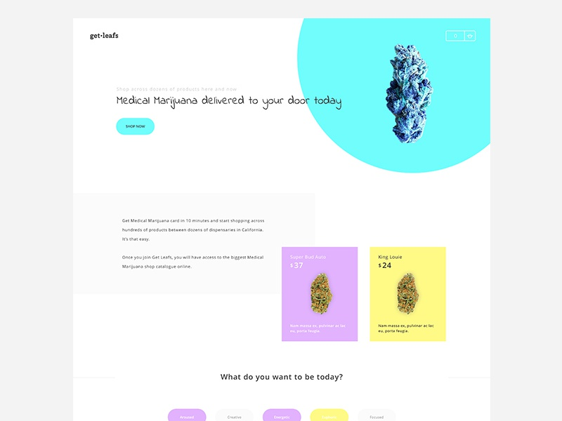 GetLeafs - Medical Marijuana store and delivery colorful clean bright checkout cart shopping products landing page nug weed marijuana