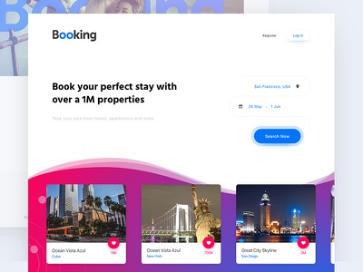 Booking.com - #Redesign 3/15 book interface cards ui landing hotel apartment trip booking travel