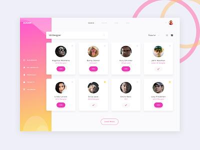 Elegant UI kit - Users Screen sleek gradient dribbble hire designers users dashboard kit ux ui