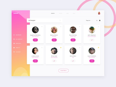 Elegant UI kit - Users Screen sleek gradient dribbble hire designers users dashboard kit ux ui
