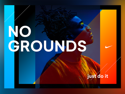 """No Grounds"" poster for Nike picture gel color gradients ad sports just do it poster nike"