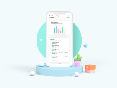 Habits App - Data Driven, Clean and Modern Look design ui logo minimal illustration experimental iphone x productivity mobile figma mockup