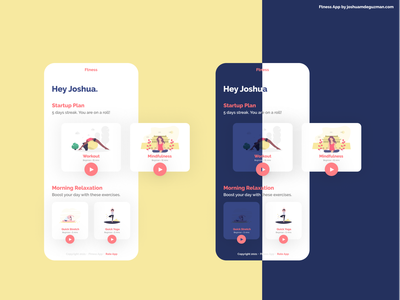 Fitness App - Focused, Clean and Functional android ios minimalist workout meditation lifestyle healthy lifestyle fitness app fitness dark ui exploration ux ui mobile app design mobile ui mobile