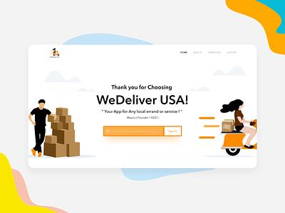 Wedeliver Usa flat web ux design logo vector clean design website xd adobe xd xd design adobexd undraw ui illustration