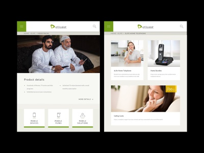Etisalat - Video Packs and Devices page product details calls home mobile devices packs video digital design product design ios android user interface interface website web design ux ui app