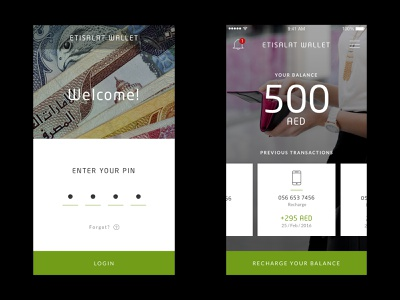 Etisalat - Wallet pin modern telecom design page mobile wallet digital design product design ios android user interface interface website web design ux ui app