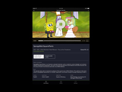 Etisalat eLife - Episode Details entertainment streaming devices mobile tv show spongebob episode details page digital design product design ios android user interface interface website web design ux ui app