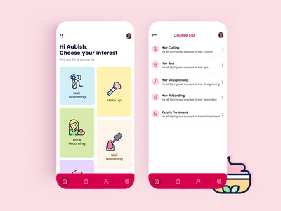 Beauty App branding illustration app ux ui design android app ios app mobile app app development app development company appschopper designs mobile app development beauty app beauty salon
