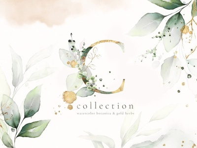 Watercolor   Gold Leaves Collection