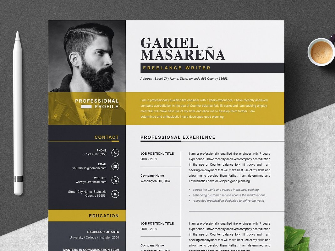 professional word resume cv template by anda lia on dribbble