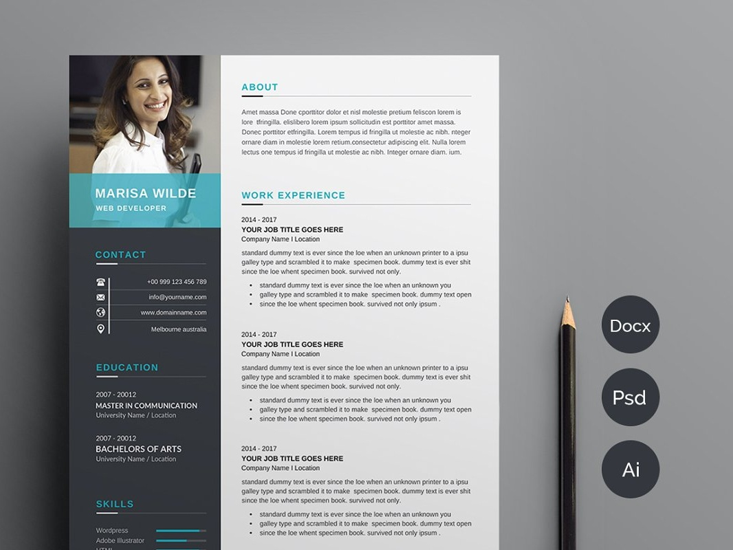 Clean Cv Resume Template By Anda Lia On Dribbble