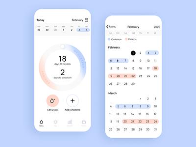Periods tracker app calendar app design periods menstruation ui design app