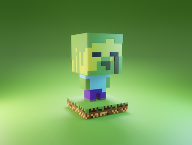 Day 12 - Minecraft Zombie Steve zombie steve minecraft cute character design character cartoon concept clean design render blender 3d art 3d