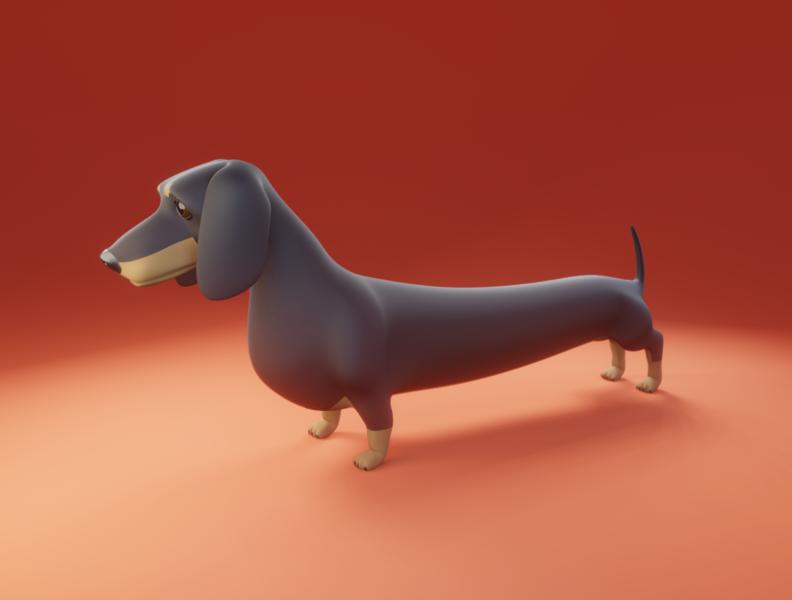 Day 13 - Dachshund dog dachshund cute character character design cartoon clean design render blender 3d art 3d