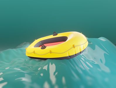 Day 16 - Rubber Dinghy sailing rubber dinghy dinghy rubber concept art cartoon concept design clean render blender 3d art 3d