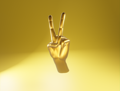 Day 26 - Golden Peace golden hand peace product design different concept design clean render blender 3d art 3d