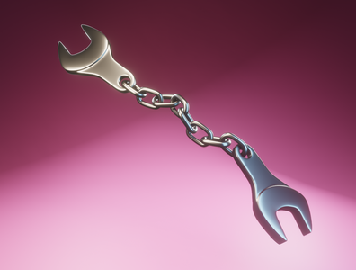 Day 41 - Spanner Chain cinema4d c4d tools useless chain spanner concept art different product design concept design clean render blender 3d art 3d