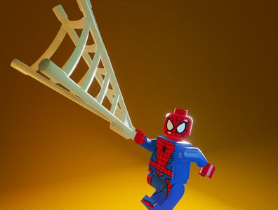 Day 49 - Lego Spiderman marvel spiderman lego cartoon branding product design concept design clean render blender 3d art 3d