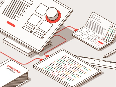 Surfaces task flow screen surface pro developer mobile app foldable code isometric illustration infography infographic