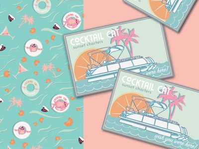 Cocktail Cat Sunset Charters stationary letterhead business cards drinks cat tropical repeat pattern surface pattern design pattern character design lettering animation vector illustrator illustration logotype logo identity design brand identity branding brand identity