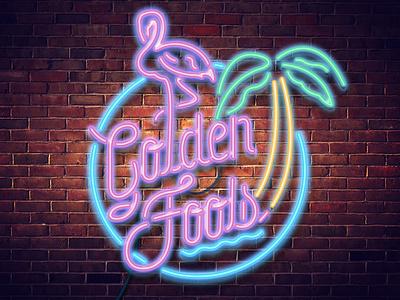 Golden Fools Logo logo design lettering illustration tropical flamingo logotype neon vector edm music branding msuician dj branding logo
