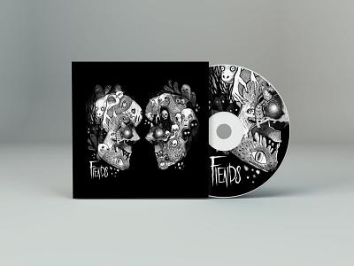 Fiends Album Mockup creatures ghosts skulls illustrator album art cover art metalband metalart creepy monsters design cdcover album album cover metal illustration