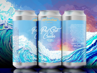 Post Sesh Crusher beach wave illustration surf art surf digital illustration illustration illustrator beer can design craft beer packaging packaging design beer packaging beer can mockup beer mockup brewery branding brewery beer can art beer label beer can