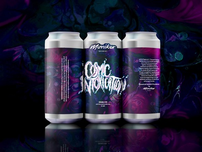 Cosmic Intoxication Double IPA type brewery art brewery branding beer branding beer art beer beer labels beer label design typography handlettering lettering artist lettering art beer label lettering illustrator illustration