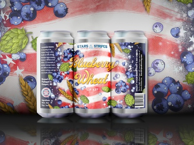Stars & Stripes Brewing Co.'s Blueberry Wheat product packaging design packagingdesign labeldesign label art beer cans beer mockup packaging mockup beer label art beer packaging packaging design illustration beer labels american flag americana brewery branding brewery art beer label design beer label