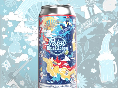 """Nice Day for a Pabst!"" - PBR Art Can Contest Submission vector illustraion illustrator vector art vector illustration packaging beer art can contest art can contest contest submission pabst blue ribbon pabst blue ribon pbr beer art beer packaging beer can design beer label design beer label beer can"