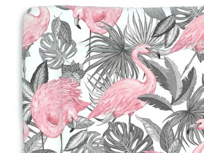 Aruba Flamingo Print flamingos grayscale tropical leaves fronds textile print textile surface pattern design illustration digital illustration surface design nursery baby products tropical pattern repeat print pattern art print art print design pattern design flamingo pattern flamingo