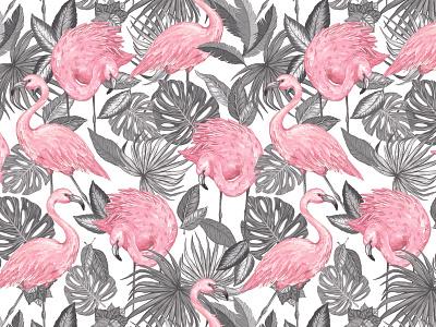 Aruba Flamingo Print flamingos grayscale tropical leaves fronds textile print textile surface pattern design illustration digital illustration surface design nursery baby products tropical pattern repeat print pattern art print art print design pattern design flamingo pattern flamingo