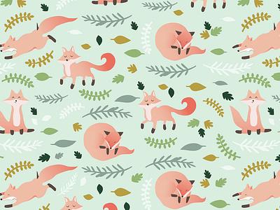 Autumn Fox Surface Pattern textile pattern textile art print design vector autumn leaves surface pattern designer surface pattern patterns pattern design pattern animals cute autumn foxes fox
