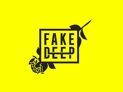 Fake Deep logo typetreatment illustration branding design
