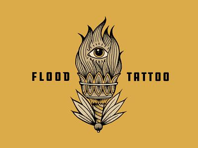 Flood Tattoo tattoo shop artist tattoo type treatment logo design illustration logo