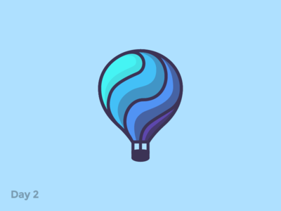 Daily Logo 2/50 - Hot Air Balloon flat lift hot air balloon air branding logo mark illustration dailylogochallenge