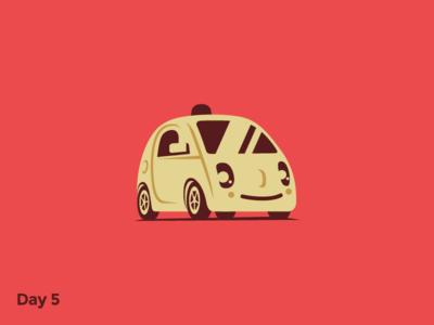 Daily Logo 5/50 - Driverless Car Logo dailylogochallenge illustration mark logo branding flat waymo google self-driving car drive car