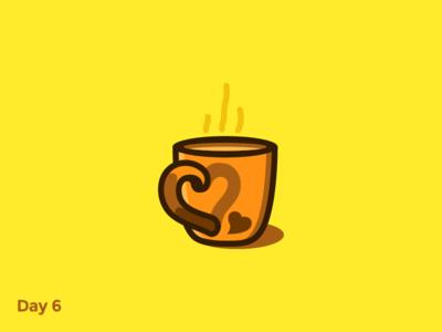 Daily Logo 6/50 - Coffee Shop heart tea coffee cafe brown cup flat branding logo mark illustration dailylogochallenge