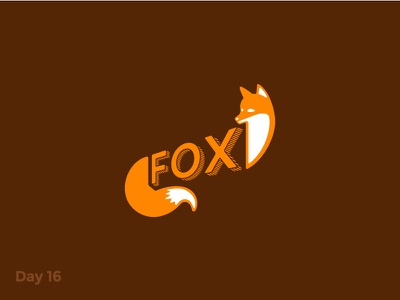 Daily Logo 16/50 - Fox Logo dailylogochallenge dailylogo mark symbol logo branding illustration character lettering orange animal fox
