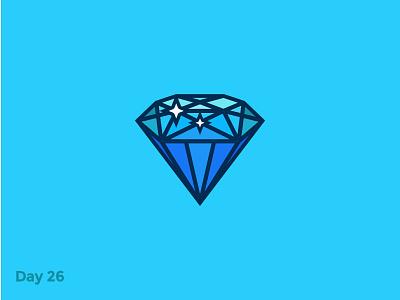 Daily Logo 26/50 - Diamond Logo diamond jewerly symbol star fashion flat mark logo illustration dailylogochallenge dailylogo branding