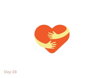 Daily Logo 28/50 - Heart Logo hand love valentines day hug heart flat mark logo illustration dailylogochallenge dailylogo branding