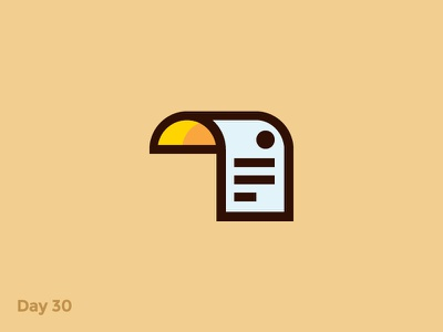 Daily Logo 30/50 - Paper Toucan Logo bird toucan blank paper minimal flat mark logo illustration dailylogochallenge dailylogo branding