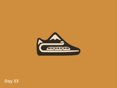 Daily Logo 33/50 - Sneakers of Mountains Logo branding dailylogo dailylogochallenge illustration logo mark flat minimal mountains sneakers shoes brand train