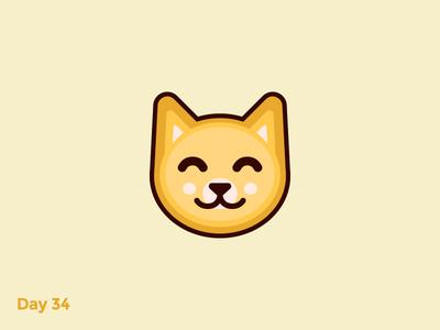 Daily Logo 34/50 - Cat Logo animal fun cute funny happy smile cheerful cat kitten minimal flat mark logo illustration dailylogochallenge dailylogo branding
