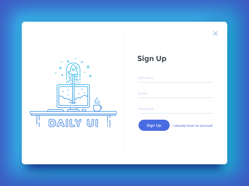 Daily UI 001/100 - Sign Up Design 001 rocket desktop form outline clean illustration sign up website design page ui dailyui daily challenge