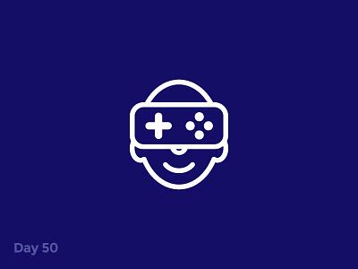 Daily Logo 50/50 - VR Game Logo branding dailylogo dailylogochallenge illustration logo mark icon gear vr virtual reality ar vr technology