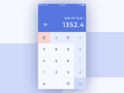 Daily UI 004/100 - Calculator digits calculation clean simple blue calculator mobile design ux ui dailyui daily challenge 004