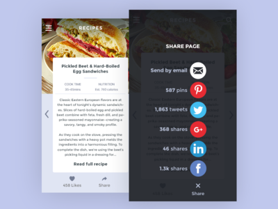 Daily UI 010/100 - Social Share 010 daily challenge dailyui ui ux design layout recipe social clean mobile page share