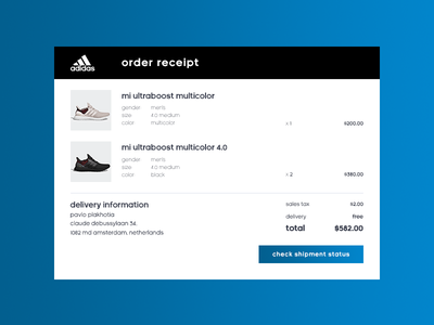 Daily UI 017/100 - Email Receipt blue cta grid shoe email order receipt adidas ux ui dailyui daily challenge 017
